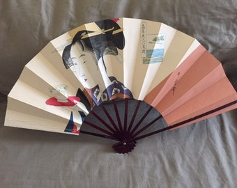 Vintage Asian Paper and Wood Hand Held Fan