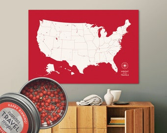 Push Pin USA Map (Siren) Travel Map Push Pin Map Travel Gift Road Trip Map of the USA on Canvas Personalized Gift For Family Name Sign