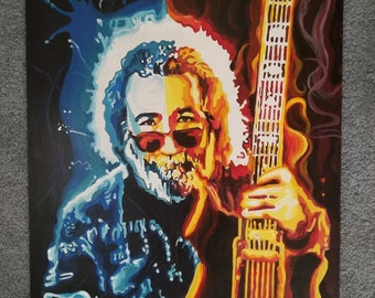 Fire from the ice, Jerry Garcia acrylic painting