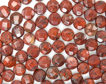 "10mm faceted red jasper coin beads 15.5"" strand 38573"