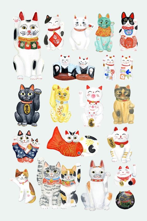 Maneki Neko Collection print of an original illustration