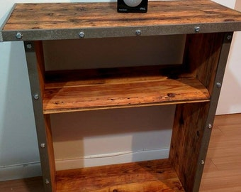 Reclaimed wood shelf unit with industrial accents