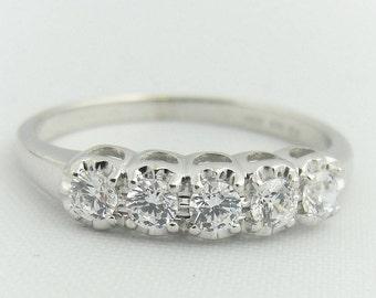 Five Diamond Wedding Band Ring- 14k White Gold