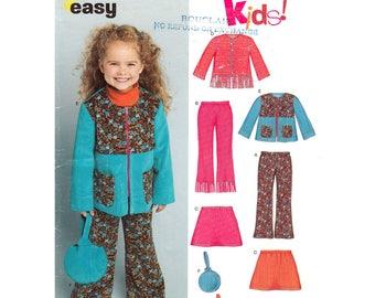 Girls Jacket Skirt Pants Purse Pattern New Look 6423 Fringe Trim Girls Size 3 4 5 6 7 8 Sewing Pattern UNCUT