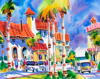 Venice Beach Florida Tropical Watercolor Print 5 x 7, 8 x 10, 11 x 14 Ellen Negley, Beach Art, Tropical Art, Beach Painting, Palm Tree