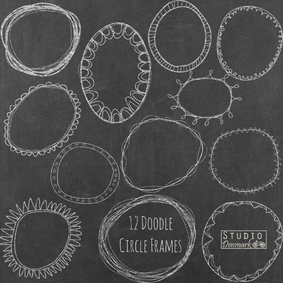 Chalk Doodle Circle Frames Clipart Hand Drawn Circle Clip