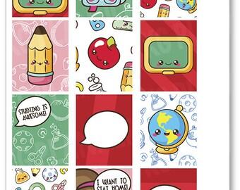 Kawaii School Full Boxes Planner Stickers for Erin Condren Planner, Filofax, Plum Paper