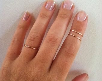 Set of 2- Mid Knuckle Rings- 14K Rose Gold Rings, Gold Filled, Gold Stacking Rings, Gold Midi Rings- any sizes