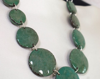 Handcrafted ceramic necklace, elements with glossy green-blue enamel effect, length 56 cm, refined
