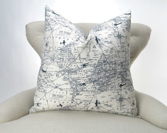 Aviation Pillow Cover -MANY SIZES- Navy Airplane Decorative Throw Pillow, Euro Sham, Air Traffic Felix Blue/Natural by Premier Prints