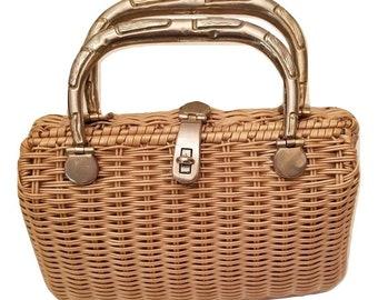 1960s Wicker Vintage Basket Handbag