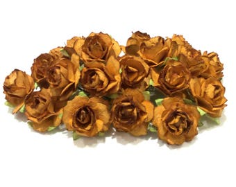 Two Tone Brown Tattered Mulberry Paper Roses Tr010