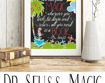 Dr Seuss Print- You can find Magic wherever you look. Sit back and relax all you need is a book. Digital Print