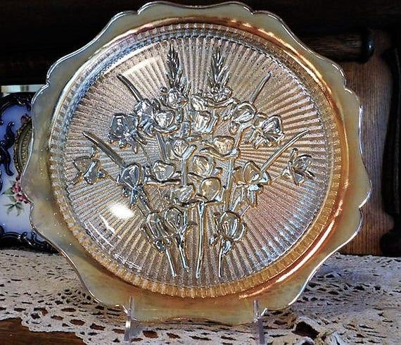 Iridescent Iris and Herringbone / Platter / Plate