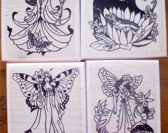 Lot of 4 New Mounted Rubber Stamp - FAIRIES, FAIRY