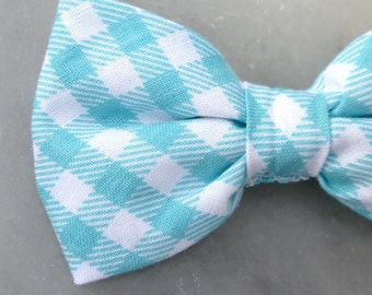 Turquoise plaid Bow tie - clip on, pre-tied with strap or self tying - ring bearer outfit, groomsmen ties, wedding party
