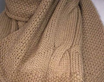 Hand knitted beige scarf