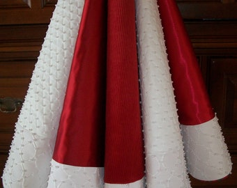 """72"""" Hand Beaded White Quilted with Red Velvet and Satin  Reversible Christmas Tree Skirt  2018 Collection"""