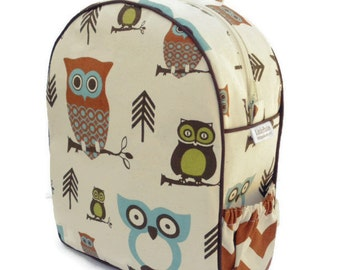Toddler Backpack, Preschool Backpack, Hooty Owl Backpack, Personalized Backpack, Chevron Backpack, Boy Backpack, Girl Backpack, Book Bag