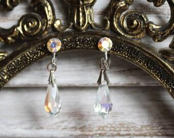 Vintage/silver/crystal/dangle/screw on/screw back/earrings. Beautiful earrings. Wedding/gift/valentines day! So pretty!
