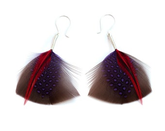 Spotty Feather Earrings in Chocolate Brown and Purple with Red Accents