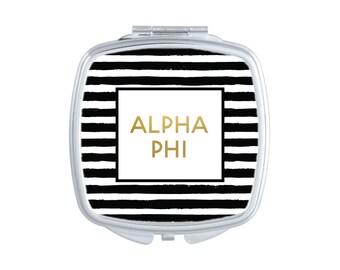 Alpha Phi Striped Pocket Mirror Sorority Compact