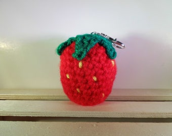 Strawberry EOS Lip Balm Keychain - EOS lip balm holder - lip balm keychain - strawberry keychain - strawberry lip balm holder - party favor