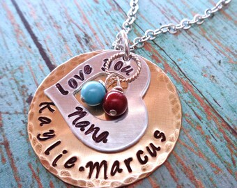 Love you Mom Nana Necklace Birthstone Pearls - Mother's Day Gift - Mommy Mum Necklace - Personalized Names Grammy Nonna Grandma Love -S249