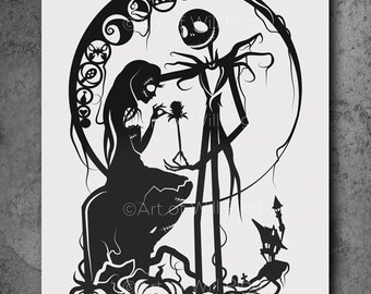 "Jack and Sally Nightmare Before Christmas Screen Print of my paper cut // signed 12""x18"" French Sweet Tooth 100lb paper black metallic ink"
