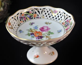 Dresden China porcelain Compote, Antique Dessert plate, Germany Antique, great gift idea, we have more in our shop, Beautiful flowers, #1933