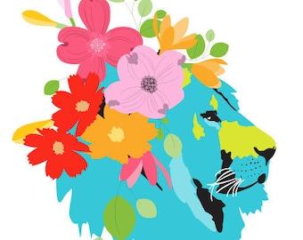 Baby artwork print - Spring Lion - baby art print, baby art print, art for nursery decor, art for babies, nursery animal art, kids art print
