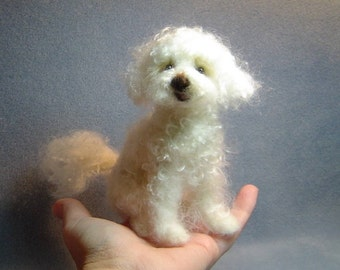 Custom made Dog Portrait needle felted miniature sculpture pets animal memorial