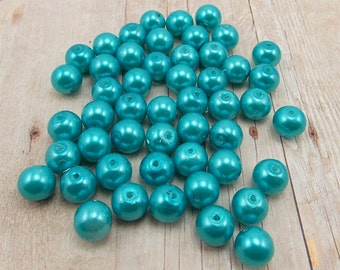 10mm Glass Pearls - Bright Aqua Blue - 40 pieces - Malibu