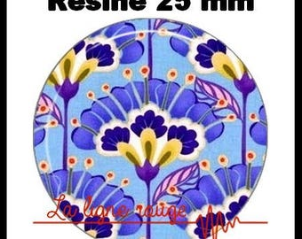 Round cabochon resin 25 mm - Iris blue (803) - craft flower, floral, nature