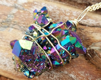 Rainbow Aura quartz, flame aura quartz necklace, aura necklace, Rainbow aura jewelry, boho jewelry, quartz necklace, reiki jewelry