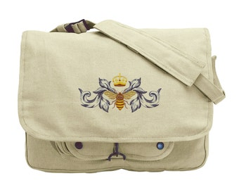 Napoleonic Bee Flourish Embroidered Canvas Messenger Bag