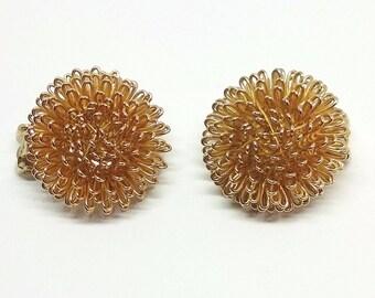 Gold Urchin Fireworks Glamour Globe Clip on Earrings Vintage Norma Jean Designer