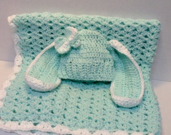 Green Mint  Baby Blanket & bunny Ears hat,Ready to ship,shower Gifts,stroller blankets,Newborn Gifts,Baby blanket sets, gifts for babies