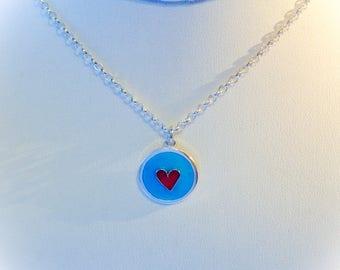 Sterling Silver cloisonné enamel heart pendant