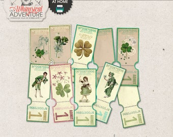 Fun Printable Coupons, Ticket Party Invitation, St Patrick's Day, St Patty, Printable Digital Collage Sheet Instant Download, Vintage Images