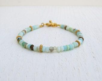 Blue peruvian opal bracelet, October birthstone bracelet
