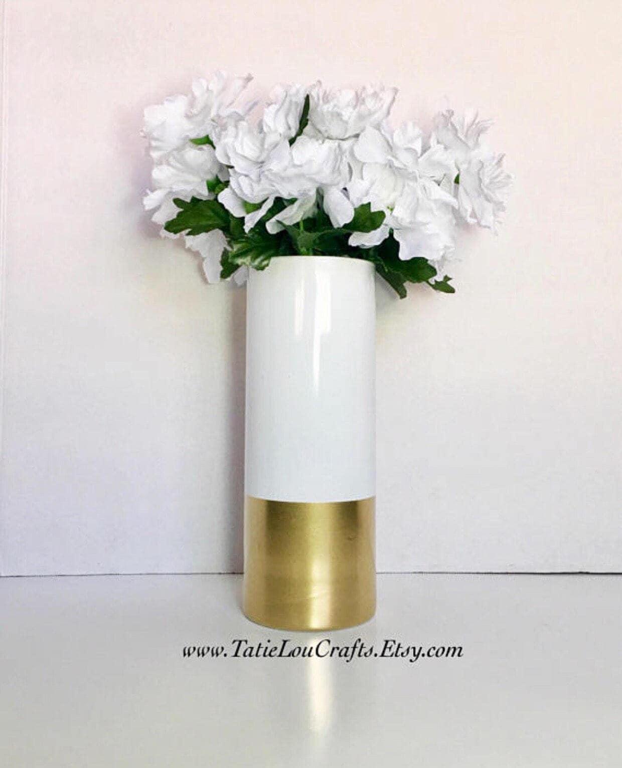White And Gold VaseCylinder VaseWedding CenterpieceGold