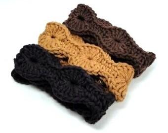 Boho Adjustable Headbands, Crochet Cotton Headband, Crocheted Hairband, Black Brown Tan Knit Headbands, Set of 3
