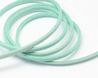 3 Yards Suede Cord Lace Faux Leather Cord - PASTEL GREEN - 3 mm Width - Jewelry Making Beading Craft Thread String