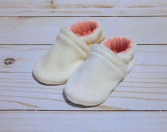 Cream and Pink : Soft Velour All Fabric Baby Shoes 0-3M Newborn Booties