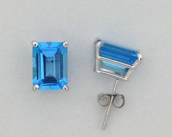 Natural Blue Topaz Stud Earrings Solid 14kt White Gold
