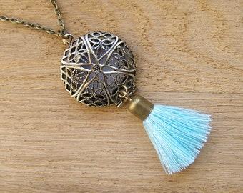 Pale turquoise tassel necklace, Essential oil diffuser locket pendant, Parfum scent aromatherapy charm, Blue dangle eclectic dream catcher
