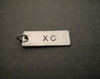 ONE (1) LARGE Hand Hammered Nickel Silver XC Pendant - Pendant Only - Hand Hammered Nickel Silver Runner Charm