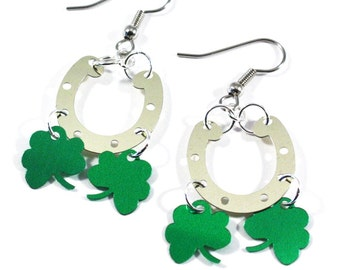 St Patrick's Day Earrings Horseshoe & Shamrock Dangles Gold and Green Plastic Sequins