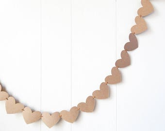 Ready to Ship Kraft Heart Garland / Wedding Decoration / Love Bunting / Anniversary Decor / Photo Prop / Adjustable Hand Sewn